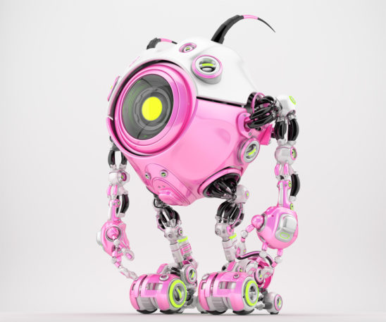 Girlish white-pink, candy robot beetle with smart antennaes and big lime camera eye, side angle 3d rendering