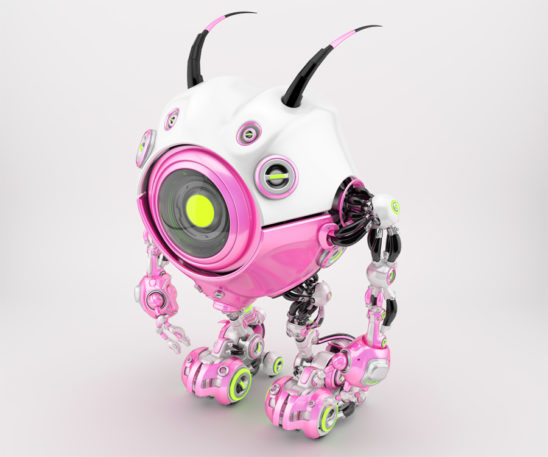 Girlish white-pink, candy robot beetle with smart antennaes and big lime camera eye, side upper angle 3d rendering