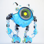 White-blue robot beetle with smart antennaes and big lime camera eye, side angle 3d rendering