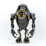 Black long ufo robot beetle with one big camera eye, 3d rendering