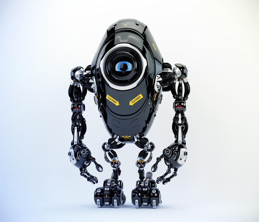Black long ufo robot beetle with one big camera eye & danger signs, 3d rendering
