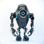 Black long ufo robot beetle with one big camera eye and blue accents, 3d rendering