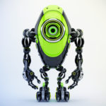 Modern black & green oval robotic beetle with one big caroon eye, front pose 3d rendering