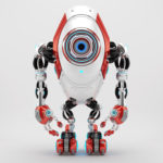 Modern white & red oval long robotic beetle with one big caroon eye, front pose 3d rendering