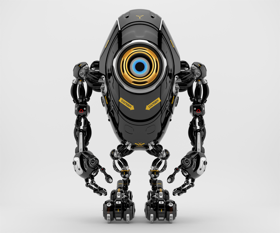Black long ufo robot beetle with one big camera eye & danger signs, 3d rendering