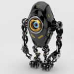 Black long ufo robot beetle with one big camera eye & danger signs, upper side 3d rendering