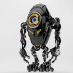 Black long ufo robot beetle with one big camera eye & danger signs, side 3d rendering