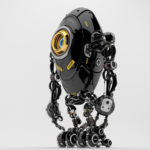 Black long ufo robot beetle with one big camera eye & danger signs, side 3d rendering