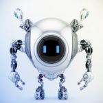 Robstr – cute robotic creature with multifunctional antennaes in sleek steel color, 3d rendering