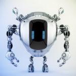 Robstr – unique robotic creature with digital eyes & multifunctional antennaes in sleek steel color, 3d rendering