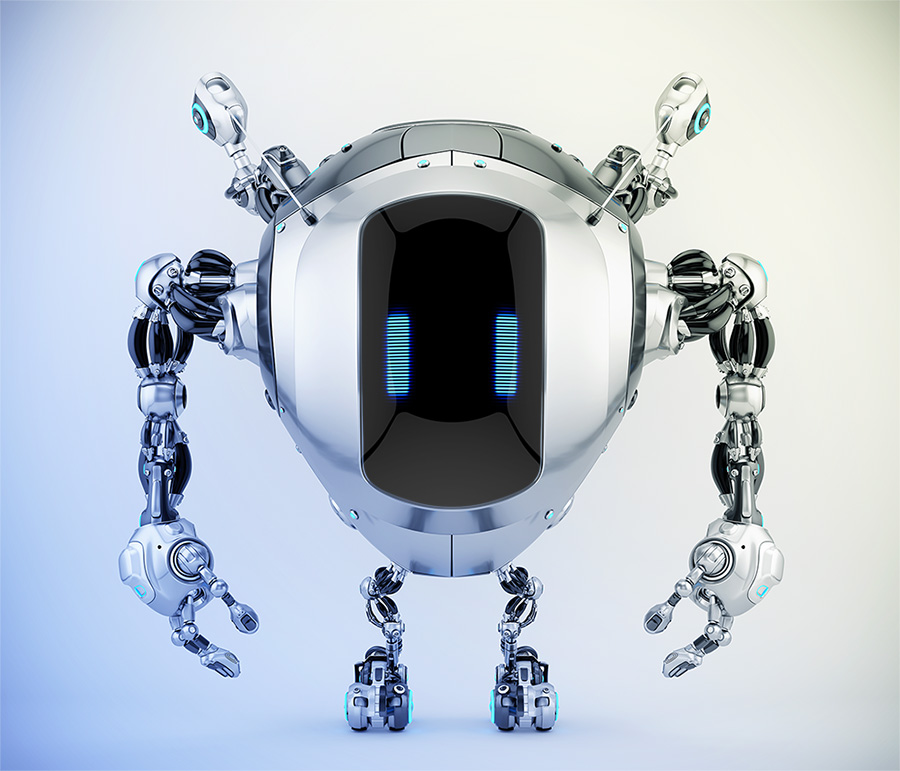 Robstr – unique robotic creature with digital eyes & multifunctional antennaes in sleek steel color, 3d rendering