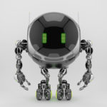 Turbot robotic ufo character with big circle digital face and lovely green eyes. 3d rendering