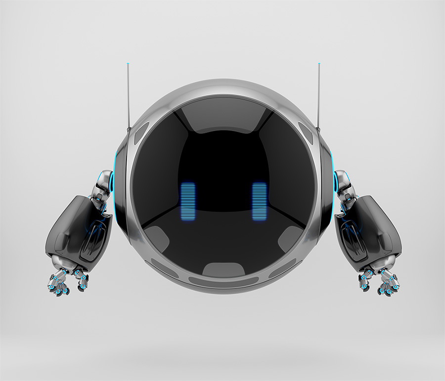 Aerial round robotic turbot character, 3d rendering