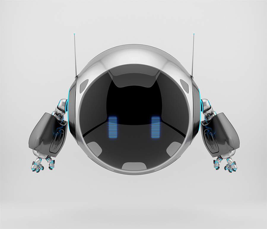 Aerial round robotic turbot character with big circle digital face and blue eyes, 3d rendering