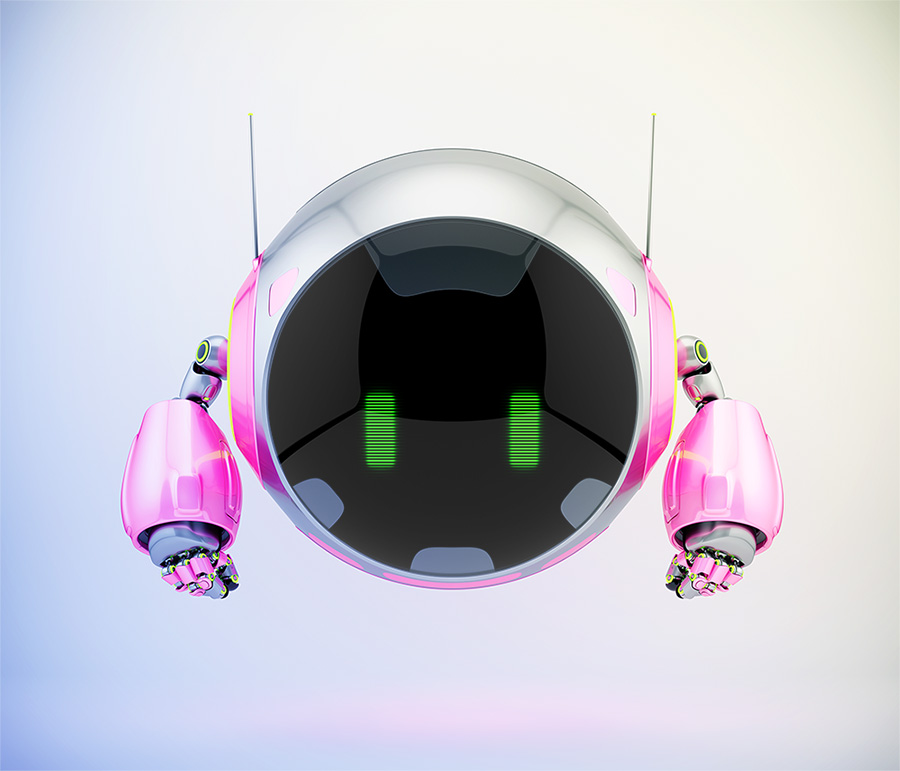 Pink aerial round robotic turbot character with big circle digital face and green eyes, 3d rendering