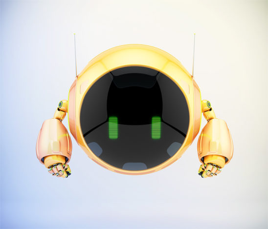 Bright orange aerial turbot character with digital green eyes, 3d rendering