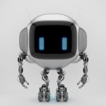 Extraordinary TV bot with ear-like handles antennaes and blue digital eyes, 3d rendering