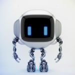 Extraordinary TV bot with ear-like handles, smart antennaes and blue digital eyes, 3d rendering