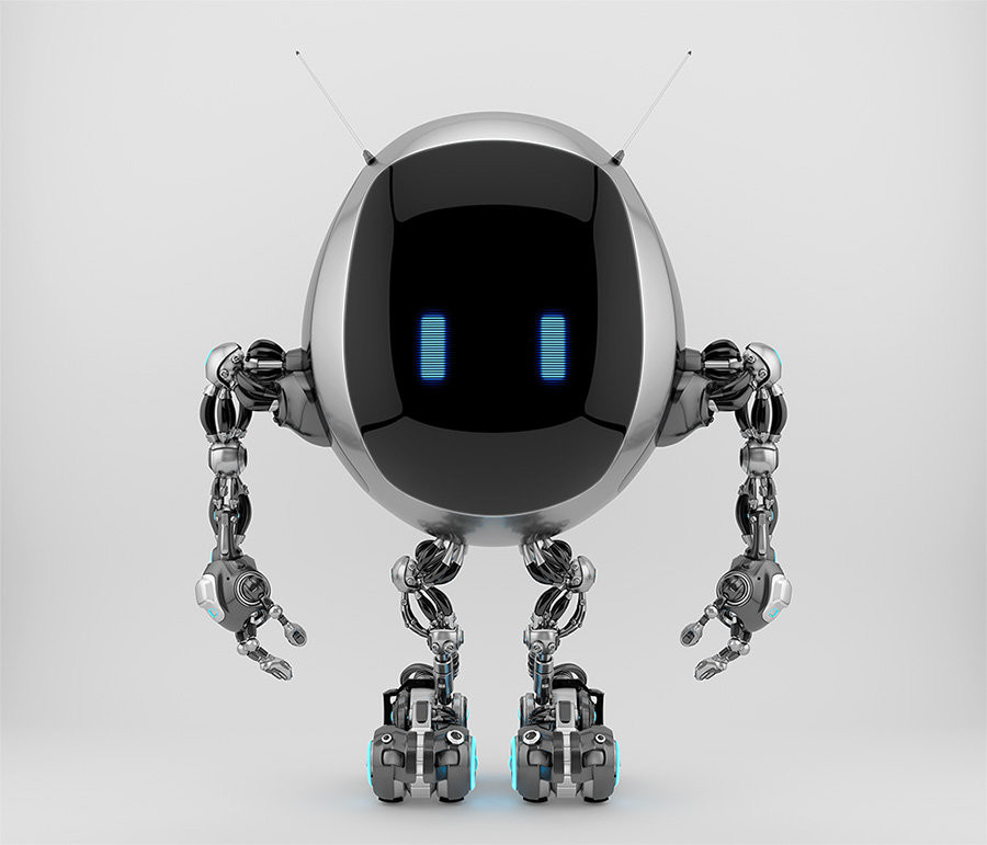 Extraordinary TV bot with oval body box, smart antennaes and blue digital eyes, 3d rendering