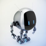 Extraordinary TV bot with oval body box, smart antennaes and blue digital eyes, side angle 3d rendering