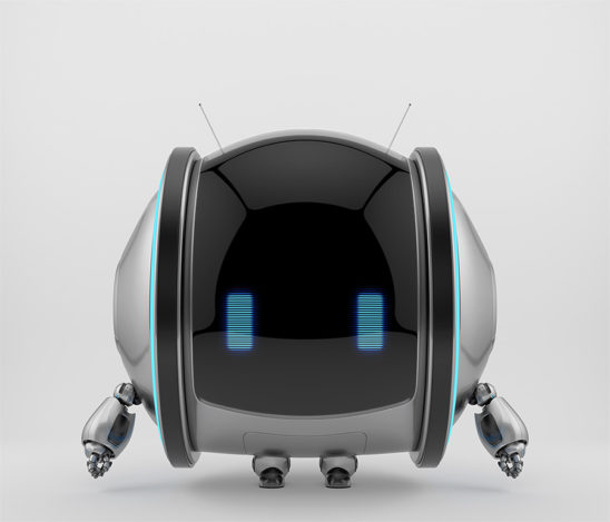 Silver shiny roll bot on two wheels with little robotic arms, legs and antennas