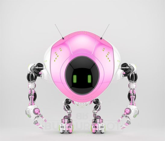 Girlish pink robot fox with two antennaes and digital screen
