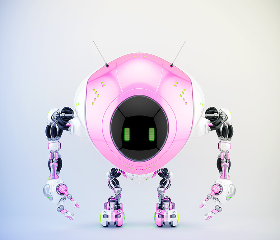 Girlish pink robot fox with two antennaes and digital screen, 3d render