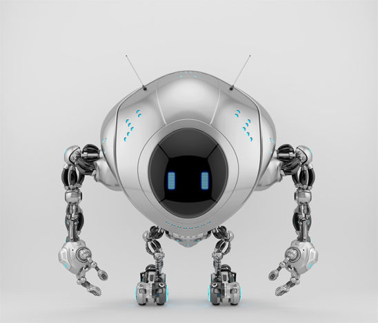Silver robotic fox character with digital screen