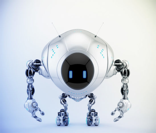 Silver robotic fox character with digital screen, 3d render