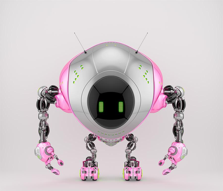 Girlish pink robot fox with digital screen