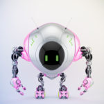 Pink-grey robot fox with digital screen, 3d render