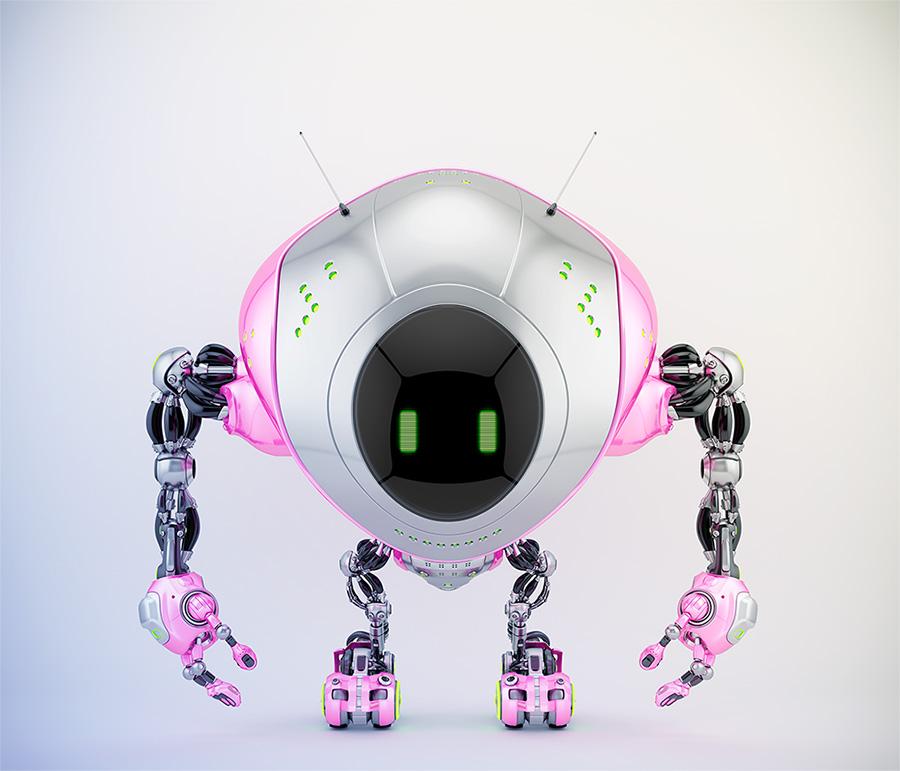 Pink-grey robot fox with digital screen, 3d render