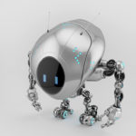 Silver robotic fox ufo creature in upper view, 3d rendering