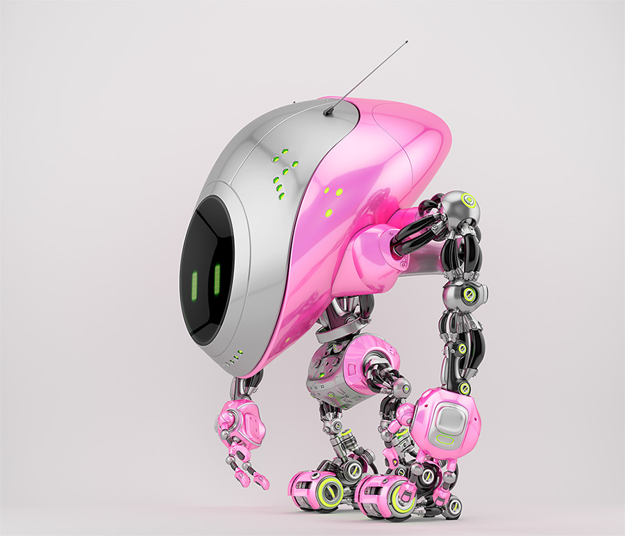 Pink-grey robot fox with digital screen in side 3d render