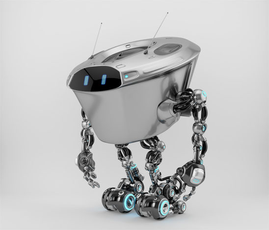 Massive robotic character - kilo bot, in side 3d render