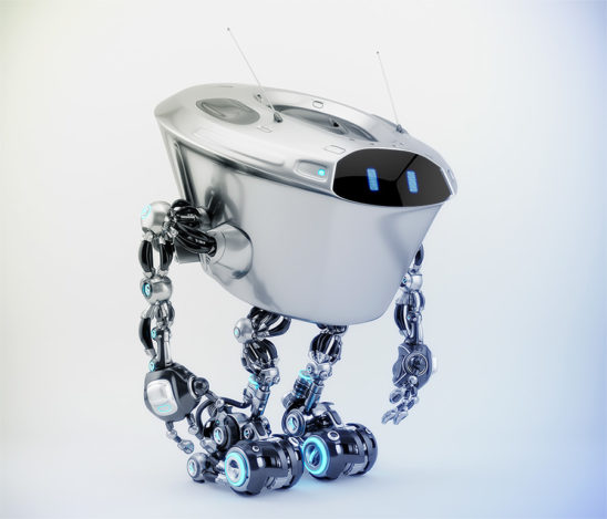 Massive robotic character - kilo bot, in side 3d render