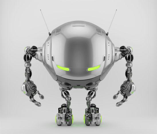 Iobot - silver futuristic robotic ufo creature, 3d render