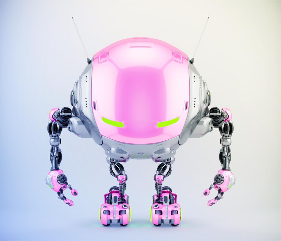 Iobot - grey-pink futuristic robotic ufo creature, 3d render