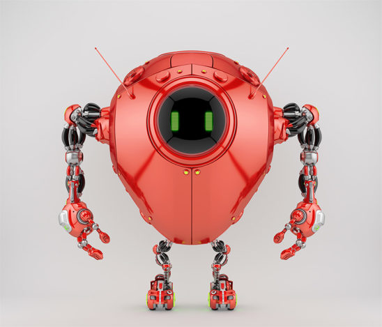 Juicy red egg bot with two smart antennaes