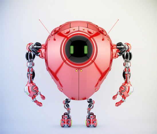 Juicy red egg bot with two smart antennaes, 3d render