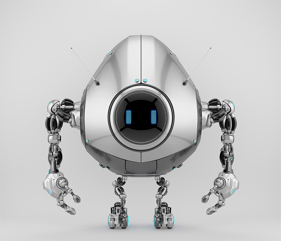 Futuristic and smart silver egg bot toy with blue digital eyes
