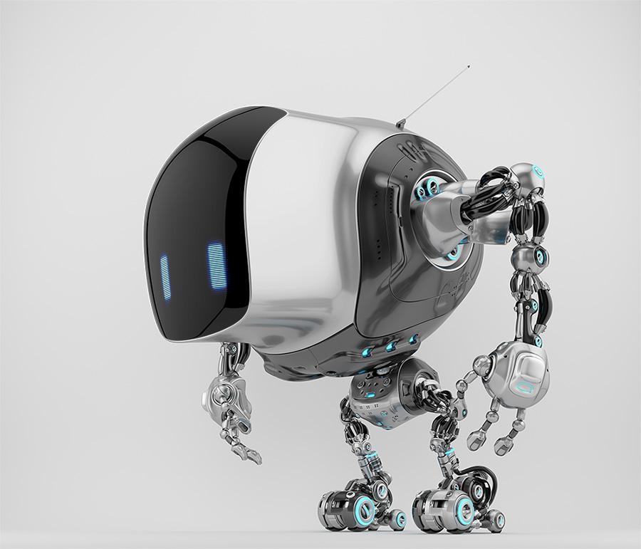 Unique robot cobot in side view 3d render