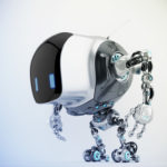 Unique robot cobot in side view 3d render