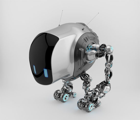Unique tank robot cobot in side upper view 3d render