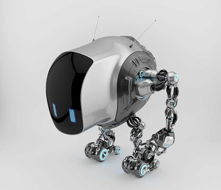 Unique tank robot cobot in side upper view 3d render