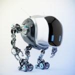 Unique tank robot cobot in side view 3d render