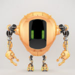 Unique pearl orange tank robot cobot in front view 3d render