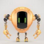 Unique pearl orange tank robot cobot in front view 3d render
