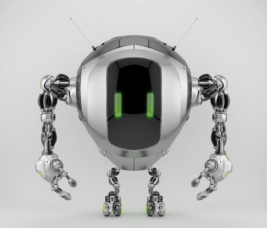 Unique tank robot cobot in front view 3d render
