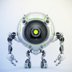 De-bot robotic creature with green illumination, 3d illustration
